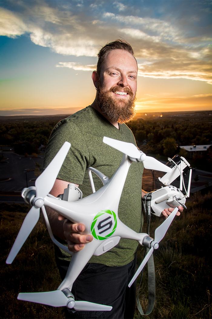Anthony Stengel holding drone